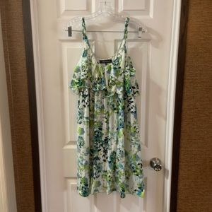 AK Anne Klein Green/White Floral Print Dress M